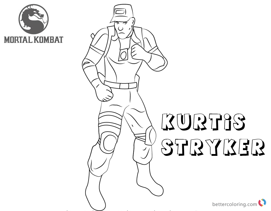 Mortal Kombat coloring pages Kurtis Stryker free andprintable