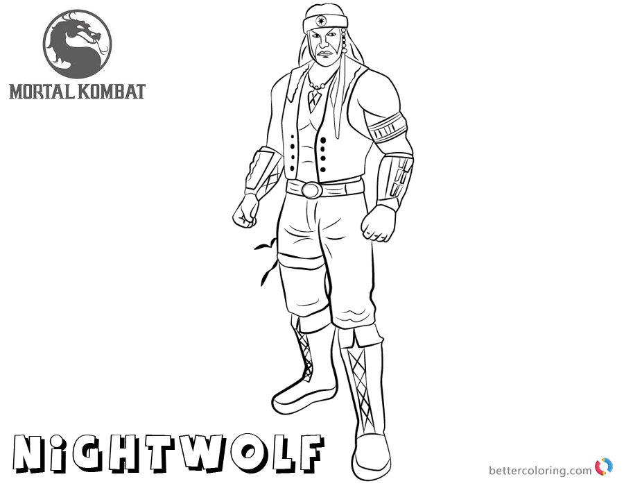 Mortal Kombat coloring pages Nightwolf free andprintable