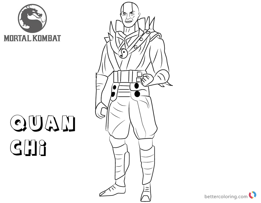 Mortal Kombat coloring pages Quan Chi free andprintable