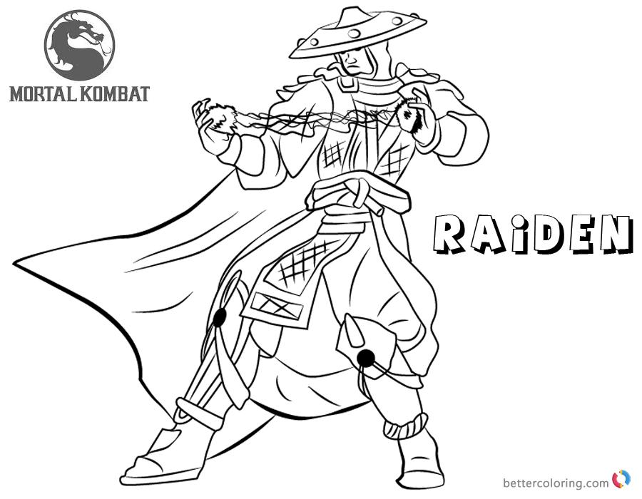 Mortal Kombat Coloring Pages Raiden Free Printable