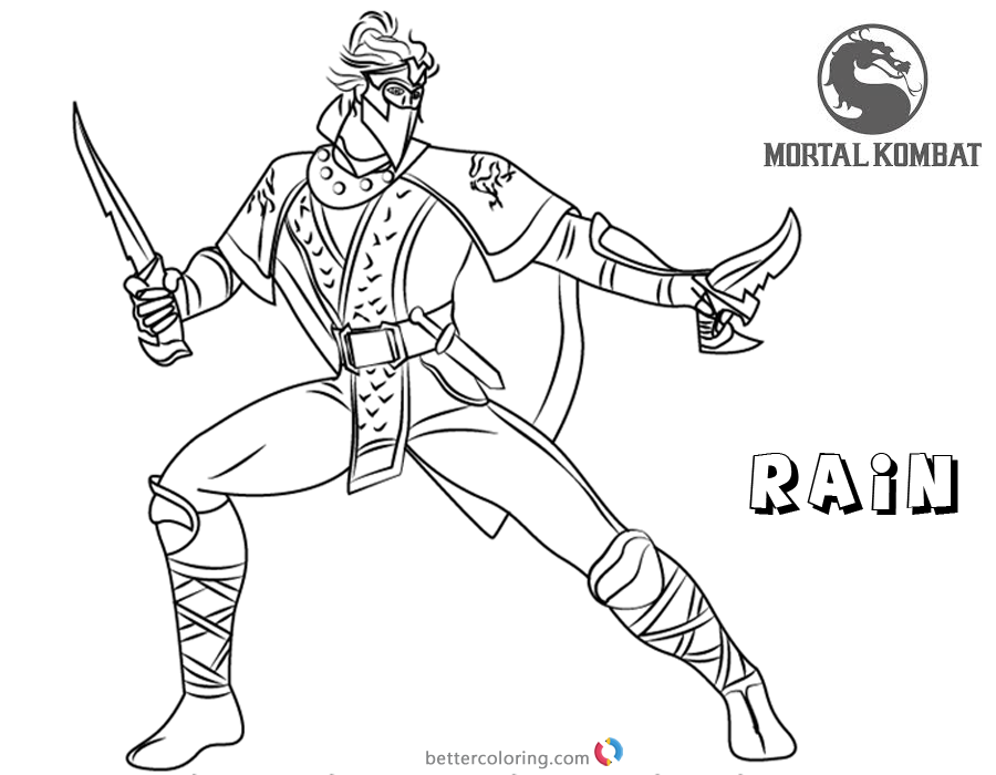 Mortal Kombat Coloring Pages Rain Free Printable