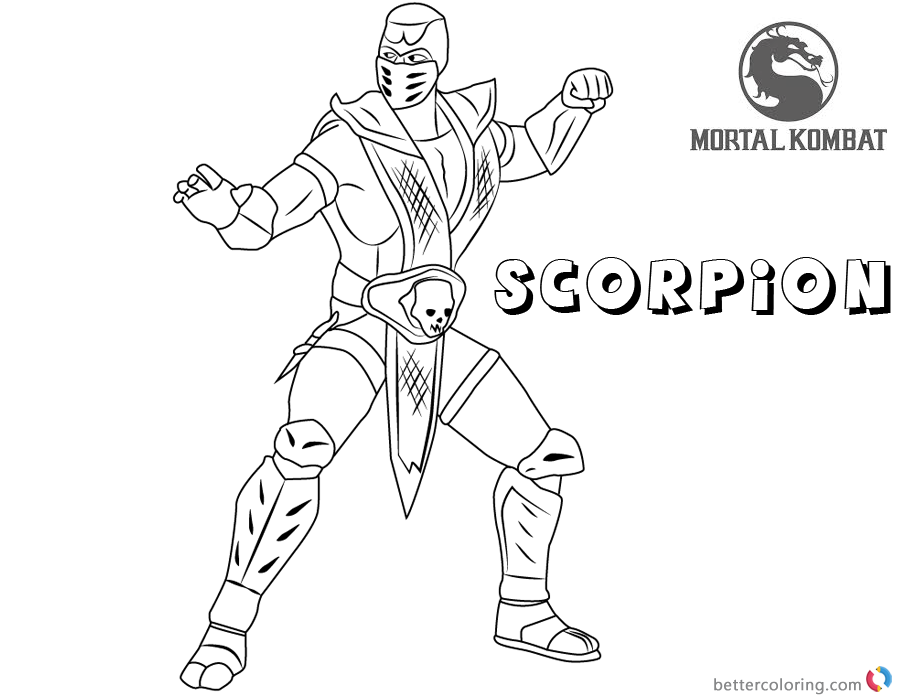 Mortal Kombat Coloring Pages Scorpion Free Printable