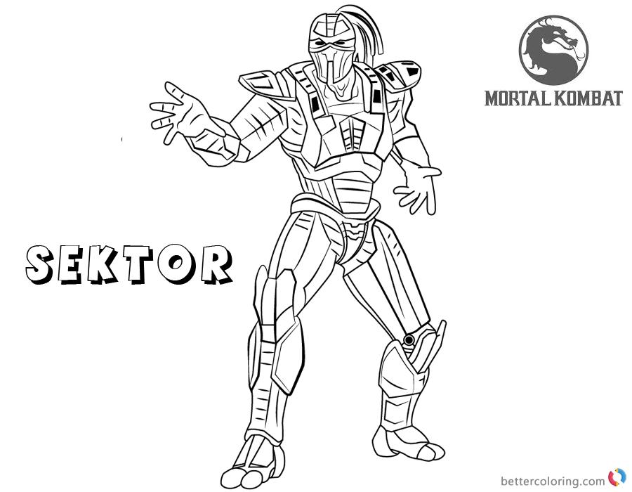 Mortal Kombat Coloring Pages Sektor Free Printable