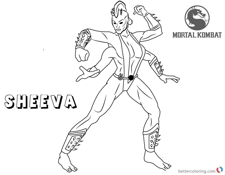 Mortal Kombat Coloring Pages Sheeva Free Printable