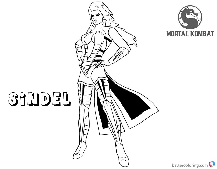 Mortal Kombat coloring pages Sindel free andprintable