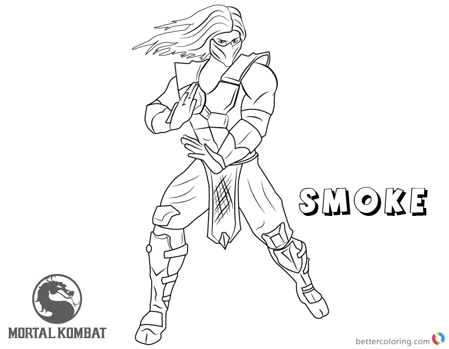 Mortal Kombat Coloring Pages Smoke Free Printable