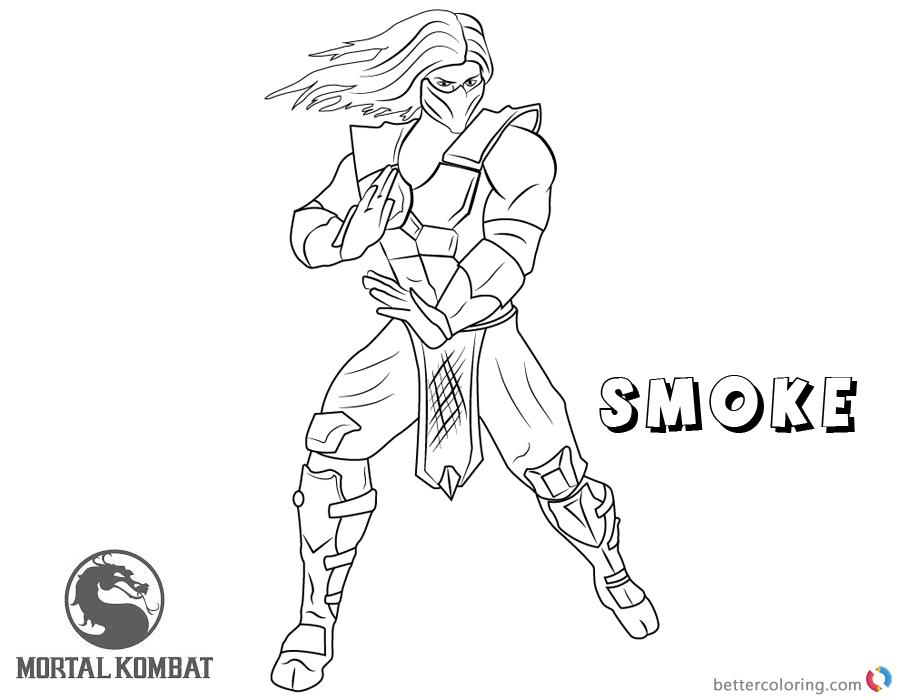 Mortal Kombat Coloring Pages Smoke