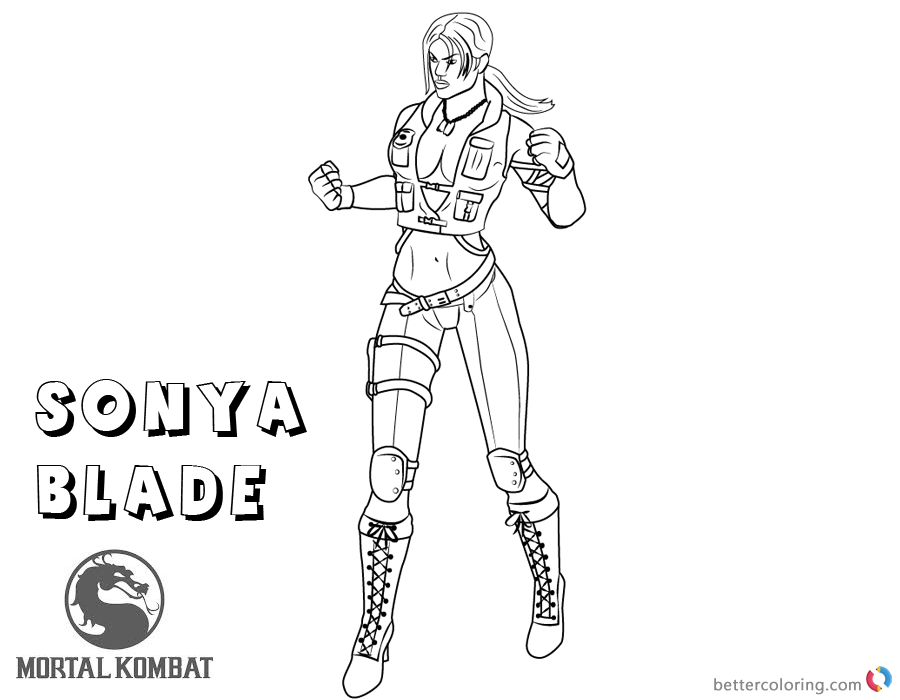 Mortal Kombat Coloring Pages Sonya Blade Free Printable