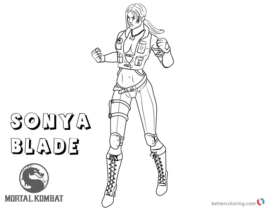 Mortal Kombat coloring pages Sonya Blade free andprintable