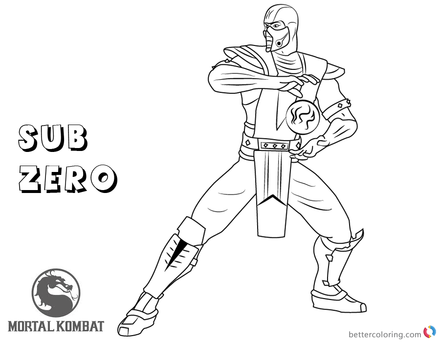 Mortal Kombat coloring pages Sub-Zero free andprintable
