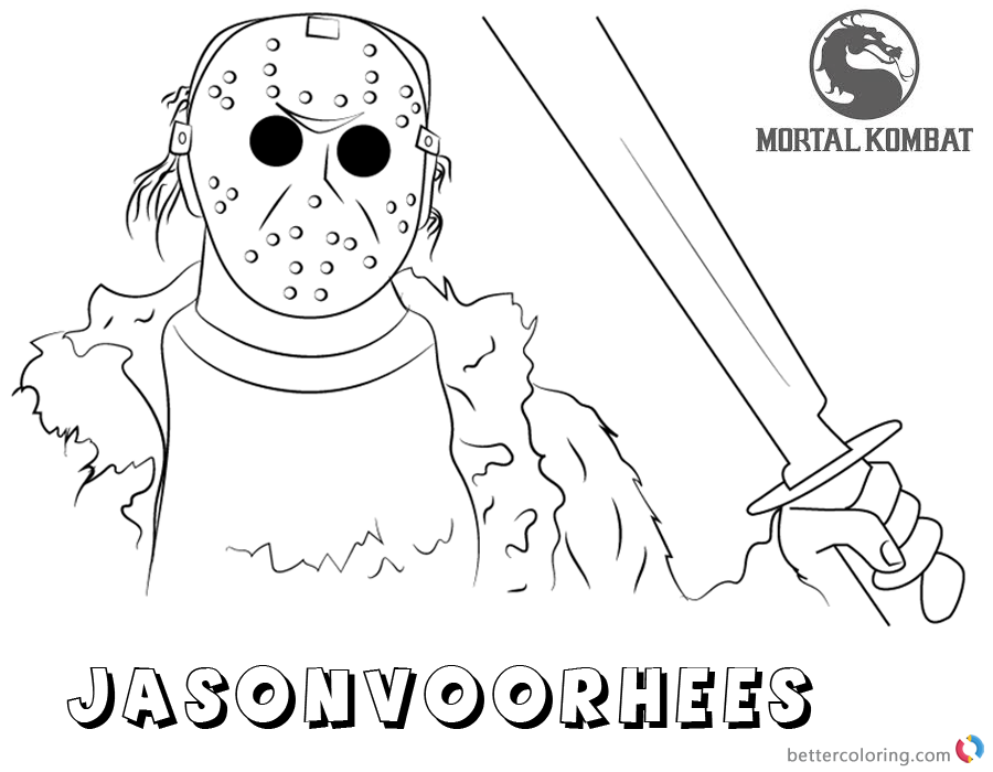 Mortal Kombat X Coloring Pages Jason Voorhees Free
