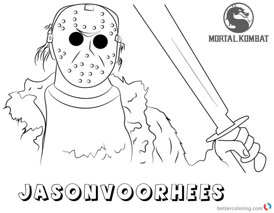Mortal Kombat X Coloring Pages Jason Voorhees Free