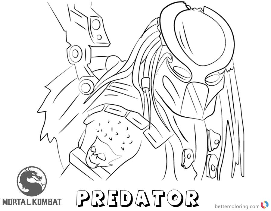 mortal kombat x coloring pages predator free printable