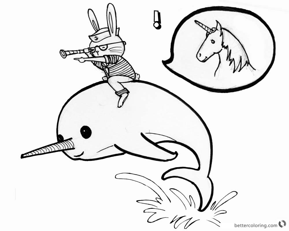 Narwhal Coloring Pages Cat Ride