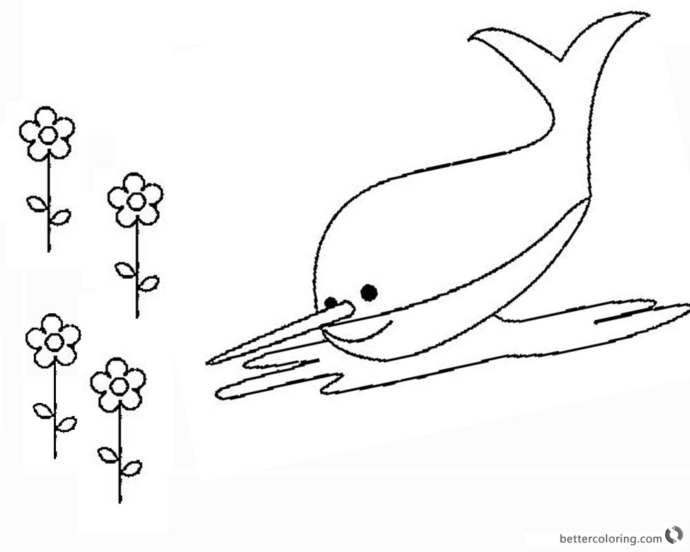 Narwhal Coloring Pages and Flowers printable
