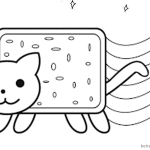 Nyan Cat Coloring Pages Cute Lineart