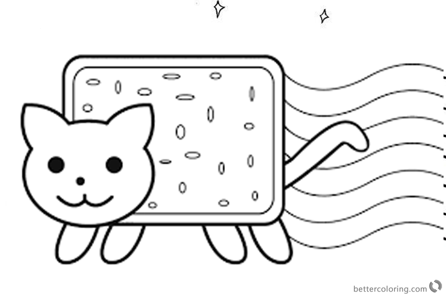 Nyan Cat Coloring Pages Cute Lineart printable
