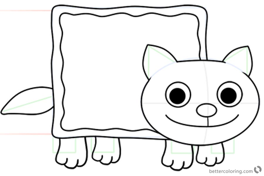 Nyan Cat Coloring Pages How to Draw Nyan Cat printable