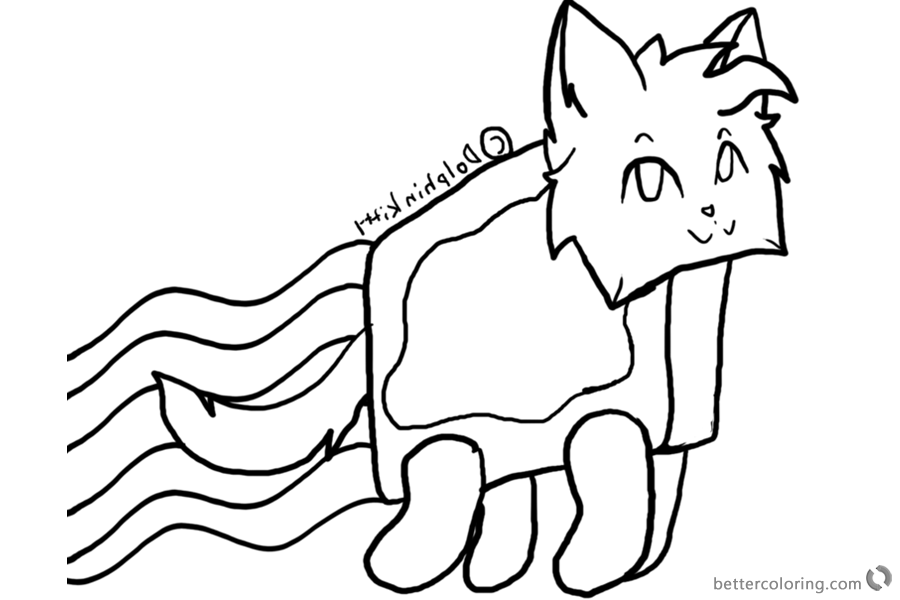 Nyan Cat Coloring Pages Lineart by Dolphinkitty printable