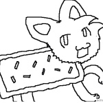 Nyan Cat Coloring Pages cute fan drawing picture