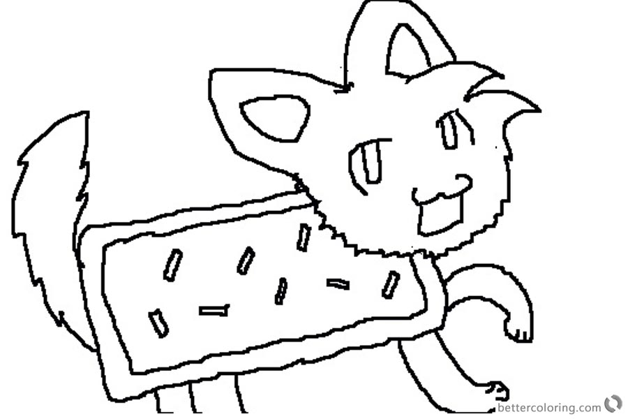 Nyan Cat Coloring Pages cute fan drawing picture printable