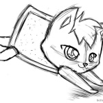 Nyan Cat Coloring Pages sketch by AlinaCat923