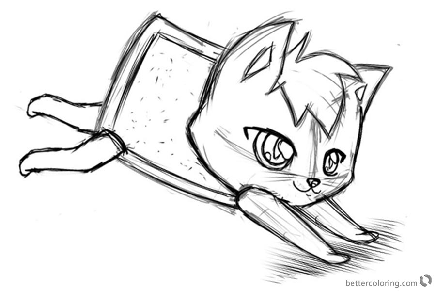 Nyan Cat Coloring Pages sketch by AlinaCat923 printable
