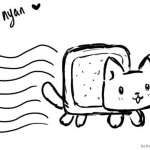 Nyan Cat Coloring pages Black And White
