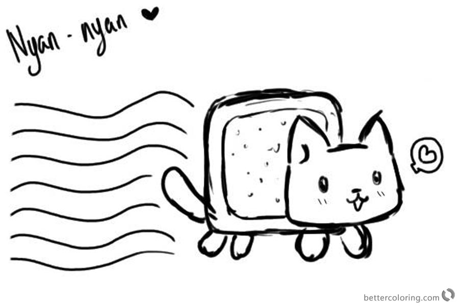 Nyan Cat Coloring pages Black And White printable