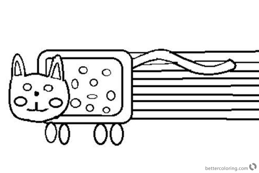 Nyan Cat Coloring pages Funny Drawing printable