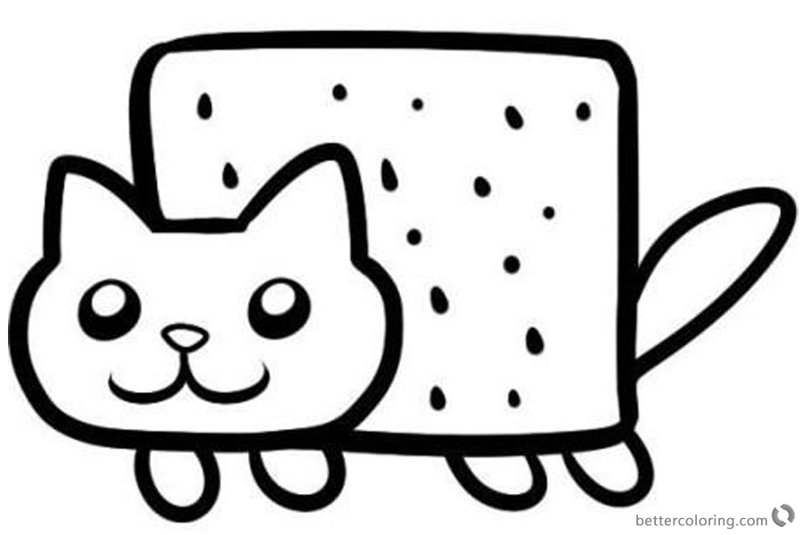 Nyan Cat Coloring pages Simple Clipart printable