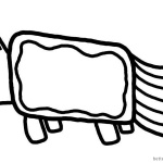 Nyan Cat Coloring pages Simple for Kids
