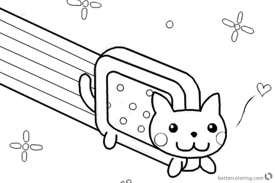 nyan cat coloring pages template by kixfe