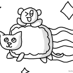 Nyan Cat Coloring pages With Baby Nyan Cat