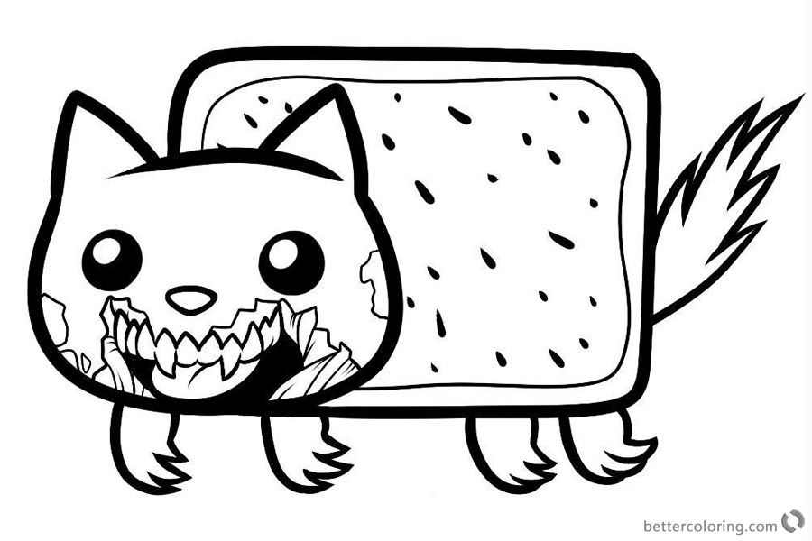 Nyan Cat Coloring pages Zombie Cat printable