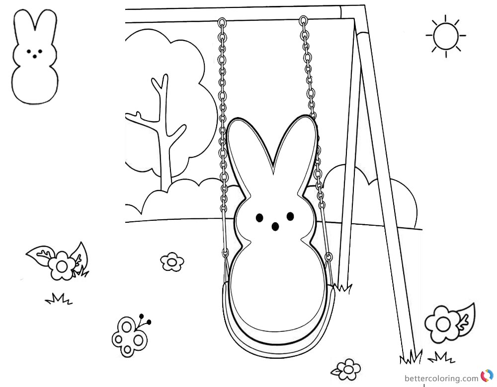 Peeps Coloring Pages Bunny Play Swing printable for free