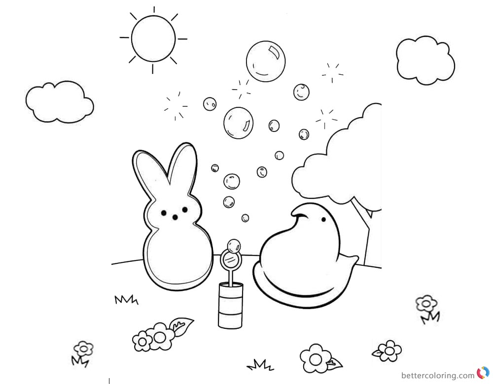 Peeps Coloring Pages Bunny Playing Bubbles printable for free