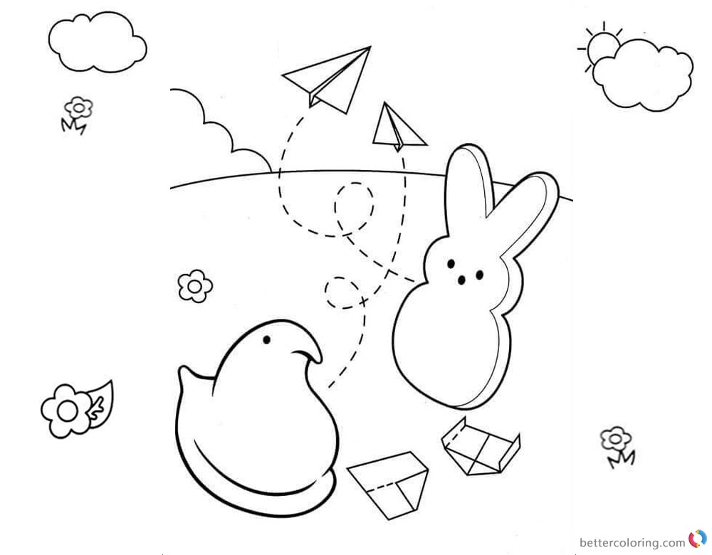 Peeps Coloring Pages Bunny Playing Paper Plane printable for free