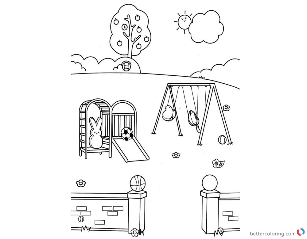 Peeps Coloring Pages Bunny Playing Slide printable for free