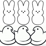 Peeps Coloring Pages Bunny Three Chicks and Three Bunnies Clipart