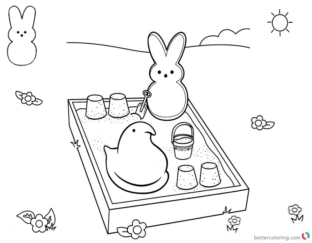 Peeps Coloring Pages Bunny is Playing Sand printable for free