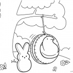 Peeps Coloring Pages Bunny is Playing Swing