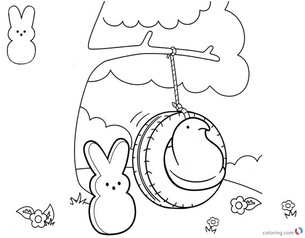 Peeps Coloring Pages Bunny is Playing Swing printable for free