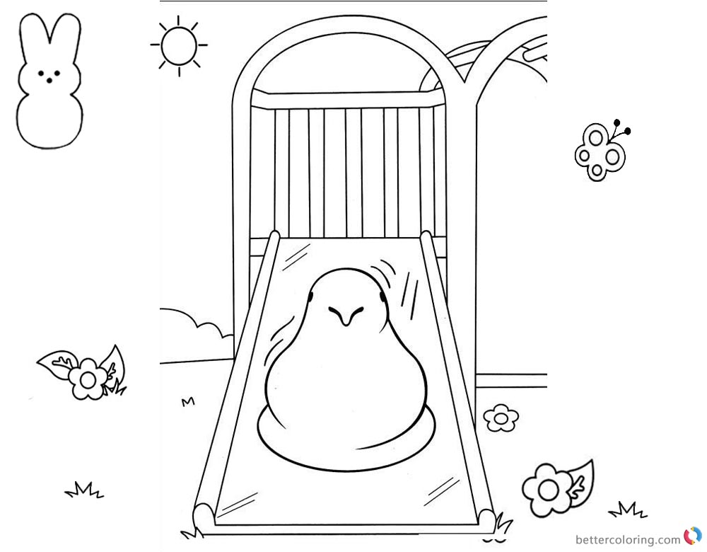 Peeps Coloring Pages Chick Playing Slide printable for free