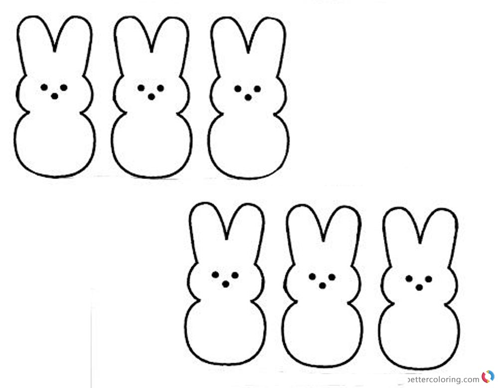 Peeps Coloring Pages Clipart Six Lovely Bunnies Clipart printable for free
