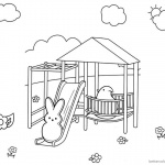 Peeps Coloring Pages Line Art Bunny Playing Slide