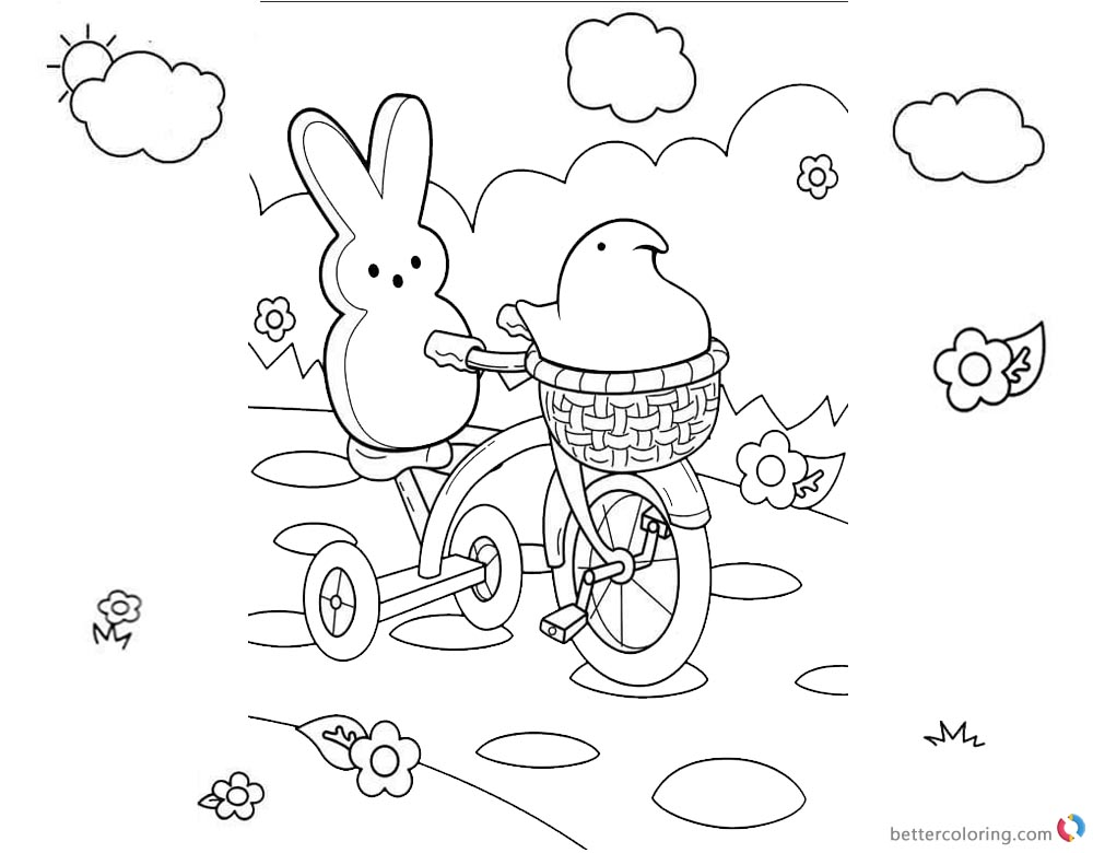 Peeps Coloring Pages Lineart Cycling printable for free
