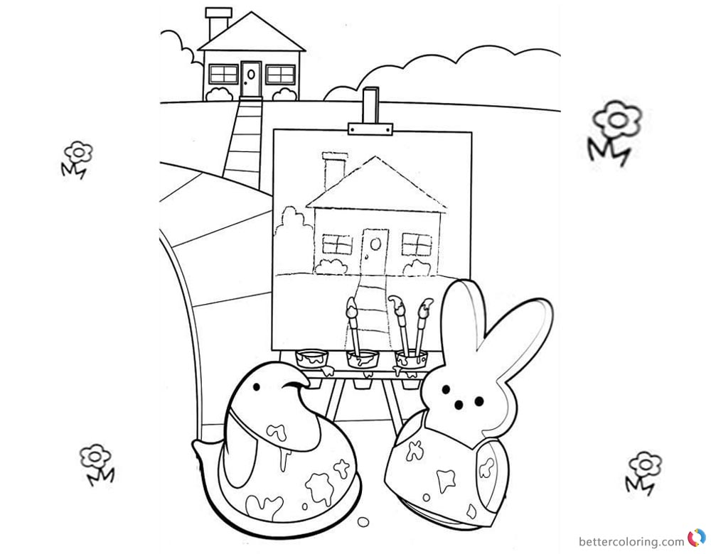 Peeps Coloring Pages Painting the House printable for free