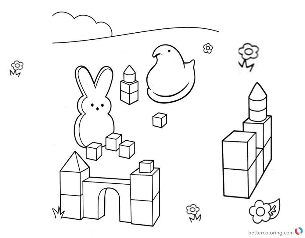 Peeps Coloring Pages Play Toy Bricks printable for free