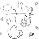 Peeps Coloring Pages Playing Music